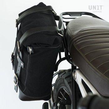 Sacoche latérale en cuir fendu + cadre symétrique Double NineT
