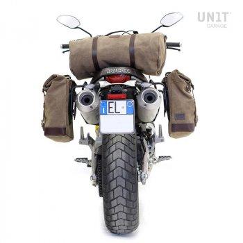 Sacoche latérale en cuir fendu + cadre Ducati Scrambler 1100