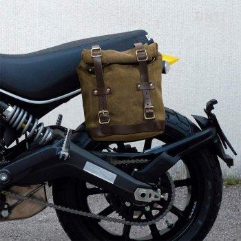 Sacoche latérale en cuir fendu + cadre Ducati Scrambler
