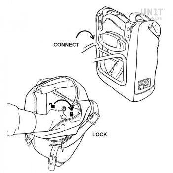 Sacoche latérale en croûte de cuir + cadre Ducati Scrambler DS
