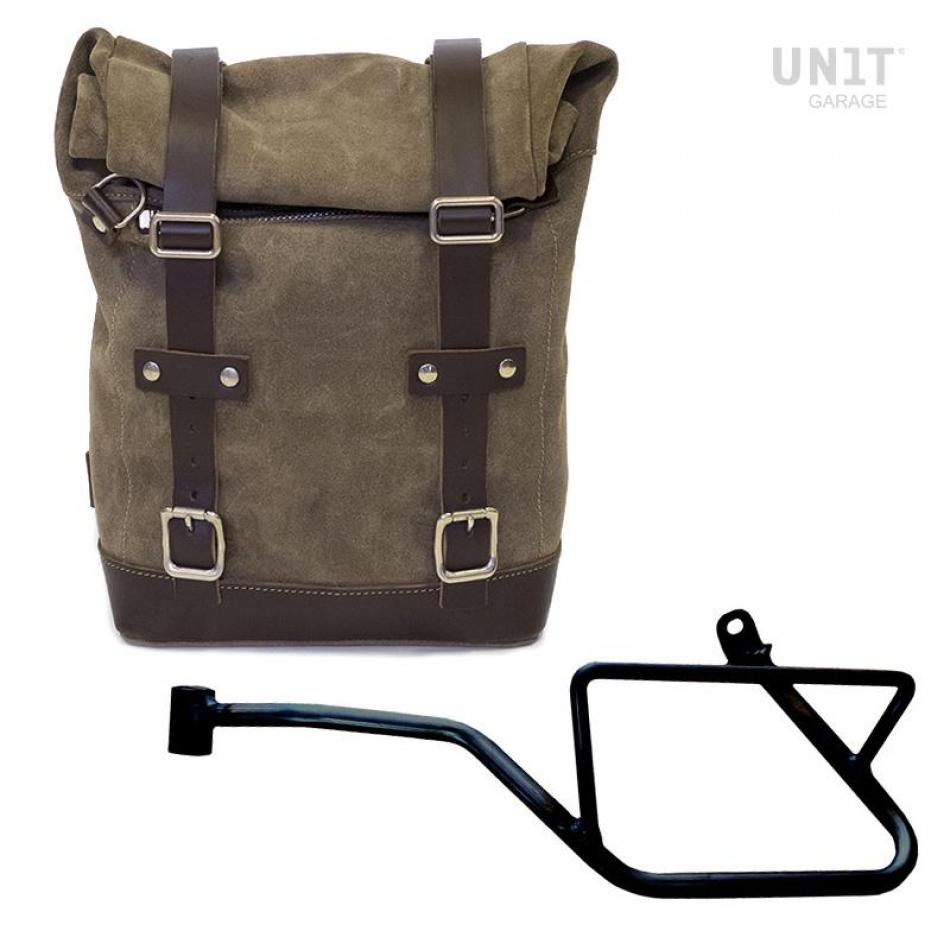 Sacoche latérale en croûte de cuir + cadre gauche Guzzi V7.850