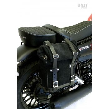 Sacoche latérale en croûte de cuir + cadre Guzzi V9 Bobber DX