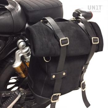 Sacoche latérale en croûte de cuir + cadre Guzzi V9 Bobber SX