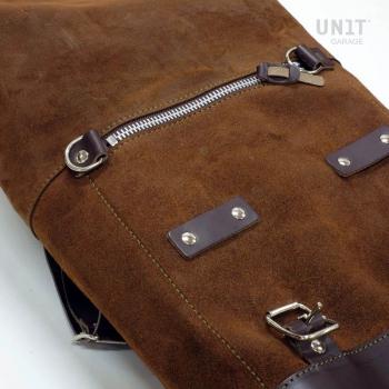Sacoche latérale en cuir fendu + cadre gauche