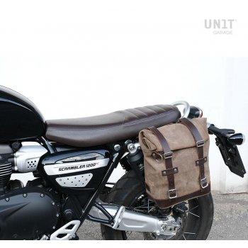 Sacoche latérale en cuir fendu + Gauge cadre Triumph Scrambler 1200 XC_XE