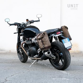 Sacoche latérale en cuir fendu + Gauge cadre Triumph Speed Twin