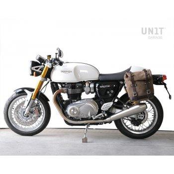 Sacoche latérale en cuir fendu + Gauge cadre Triumph Thruxton