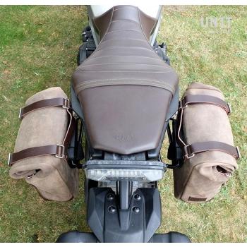 Sacoche latérale en cuir fendu + cadre Yamaha DX