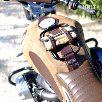 Housse de réservoir en cuir fendue avec porte-bagages