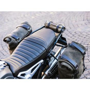Deux sacs latéraux en cuir fendu + double cadre NineT