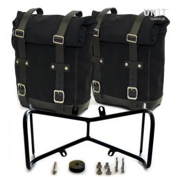 Deux sacs latéraux en cuir fendu + double cadre symétrique NineT