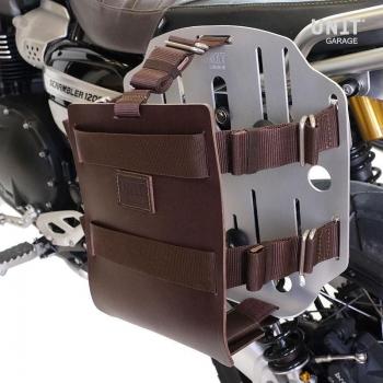 Support de sac en aluminium avec façade en cuir réglable, attache rapide et cadre