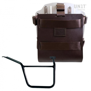 Porte-sac en aluminium avec façade en cuir réglable, attache rapide et cadre Pan America 1250