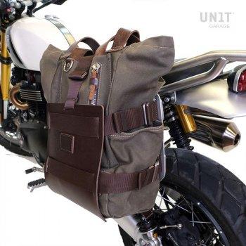 Support de sac en aluminium avec façade en cuir réglable et attache rapide